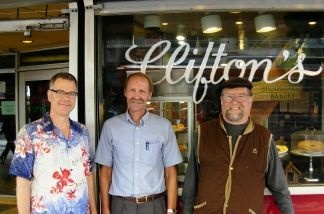 Charles Phoenix, Robert Clinton (grandson of Clifton's founder), and Marc Haefele.