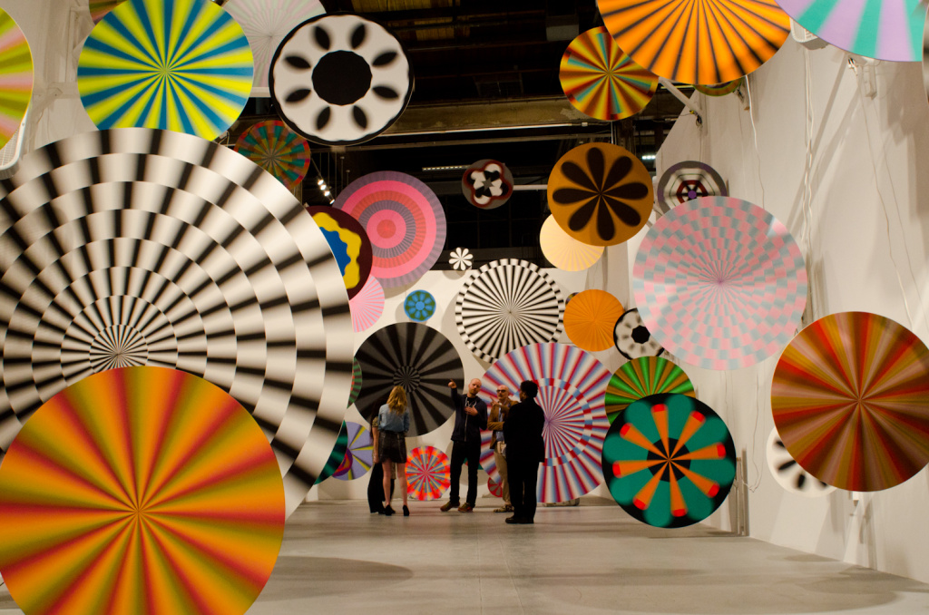 The Museum of Contemporary Art in downtown Los Angeles features works from many of the top modern artists. In an exhibit by Jim Drain & Ara Peterson, MOCA visitors walked through spinning spirals.