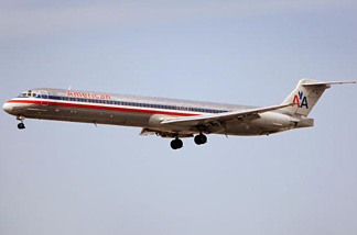 An American Airlines MD-80 jet prepares to land. In 2008, American Airlines cancelled about 200 flights nationwide today so they could inspect some wiring aboard their MD-80 aircraft.