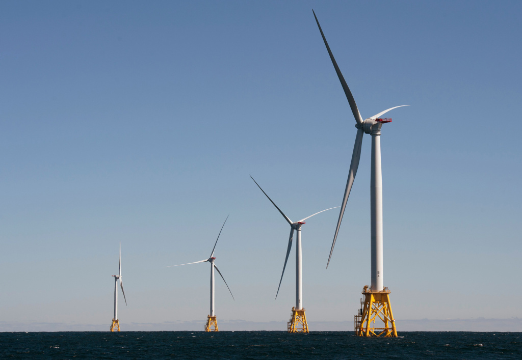 The Biden administration is opening the West Coast to offshore wind. Companies have largely focused on the East Coast, like this wind farm off Block Island, Rhode Island.