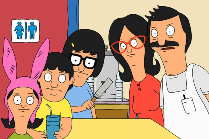 The Belcher family of Bob's Burgers.
