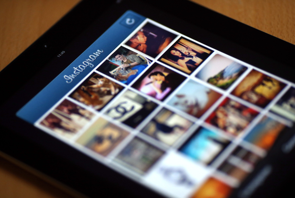Pictures appear in the Instagram app on April 10, 2012 in Paris, France.