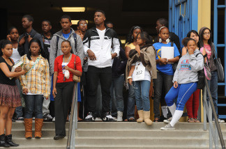 Students standing outside Crenshaw High School in Los Angeles Unified School District (LAUSD) in Los Angeles on May 15, 2009.