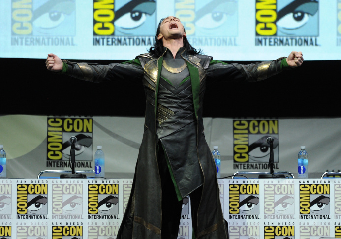 Actor Tom Hiddleston appears onstage as Loki at Marvel Studios