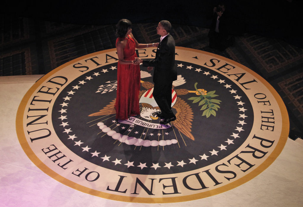 President Barack Obama and first lady Michelle Obama dance together at the Commander-in-Chief's Inaugural Ball at the Washington Convention Center January 21, 2013 in Washington, DC.