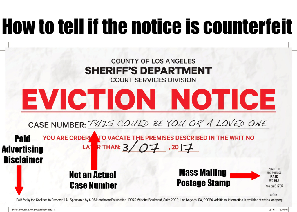 A photo released by the L.A. County Sheriff's Department showing a mailer put out by supporters of Measure S designed to look like an eviction notice, noting the indications that it's not a real eviction notice.