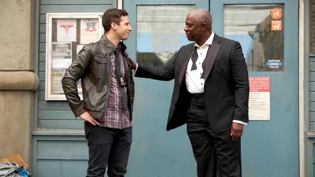 Andy Samberg and Andre Braugher in <em>Brooklyn Nine-Nine</em>.