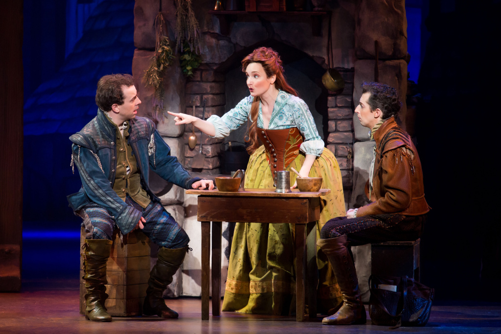 "(L-R) Rob McClure, Maggie Lakis and Josh Grisetti in ""Something Rotten!"" at the Ahmanson Theatre  through Dec. 31."