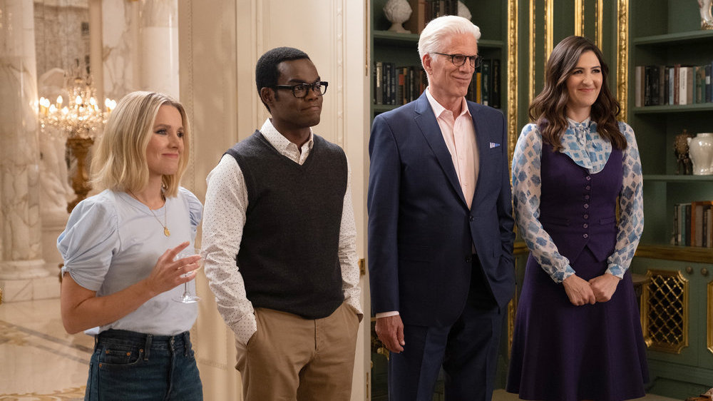 Kristen Bell as Eleanor, William Jackson Harper as Chidi, Ted Danson as Michael, and D'Arcy Carden as Janet.