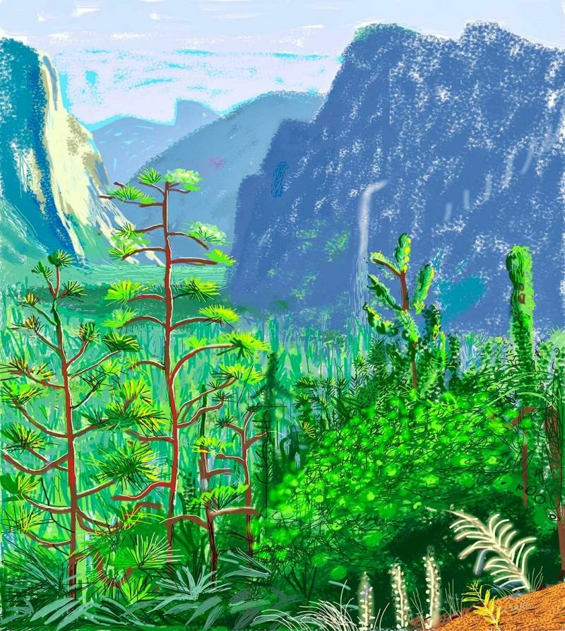 David Hockney, Yosemite I, October 16th 2011. iPad Drawing printed on six sheets of paper (71 3/4 x 42 3/4 in. each), mounted on six sheets of Dibond, 143 1/2 x 128 1/4 in. overall. © 2013 David Hockney