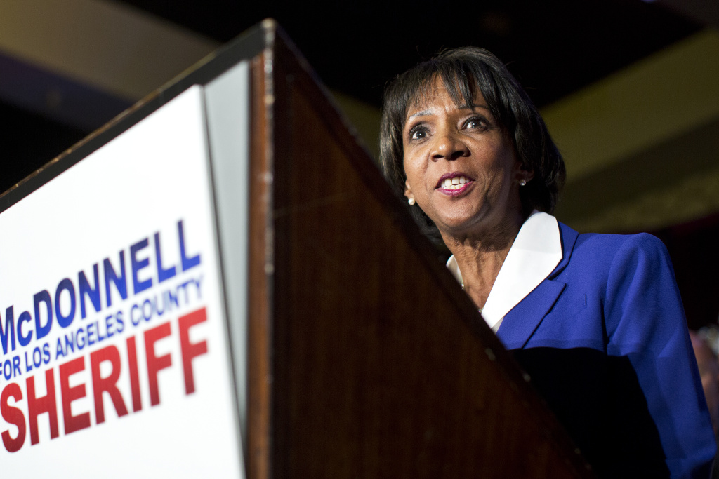Los Angeles District Attorney Jackie Lacey speaks during an election party for newly elected Los Angeles County Sheriff Jim McDonnell on Tuesday night, Nov. 4, 2014 at the JW Marriott at LA Live.