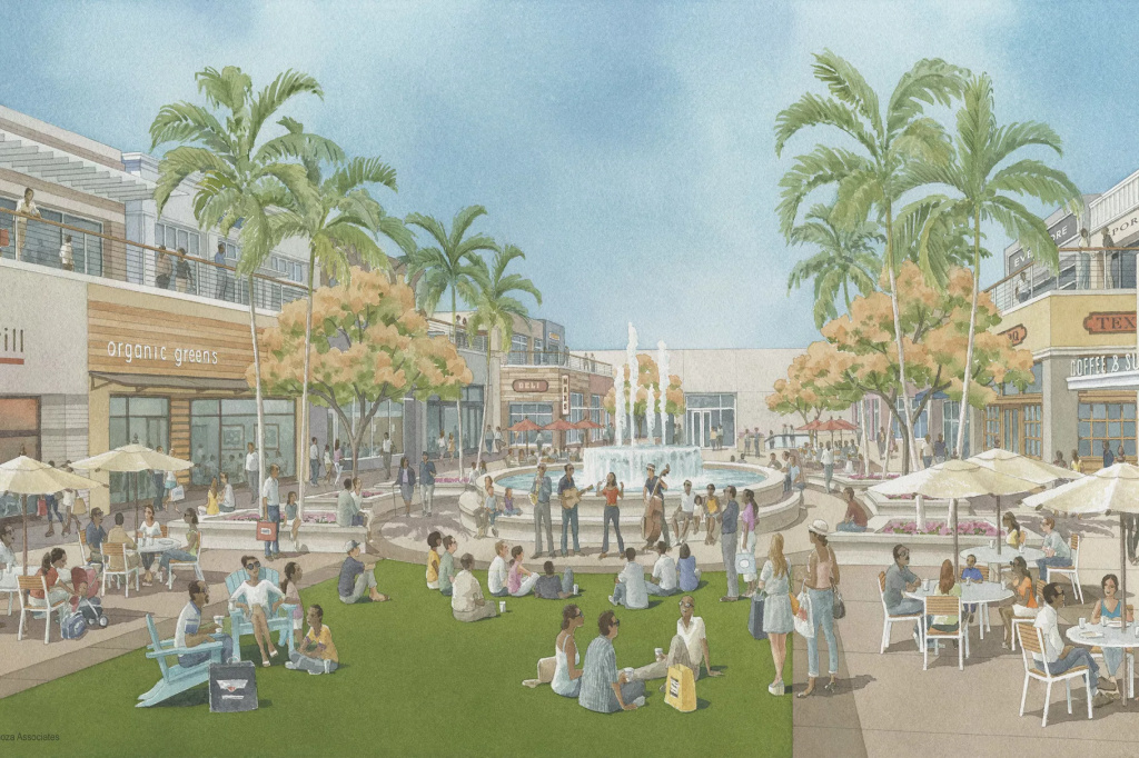 A rendering of the planned upscale redevelopment of the Baldwin Hills Crenshaw Plaza mall, which is located at what will be the Martin Luther King station on the Crenshaw Line. Some residents are worried the upscale development and the luxury housing that will be built with it will push out longtime residents.
