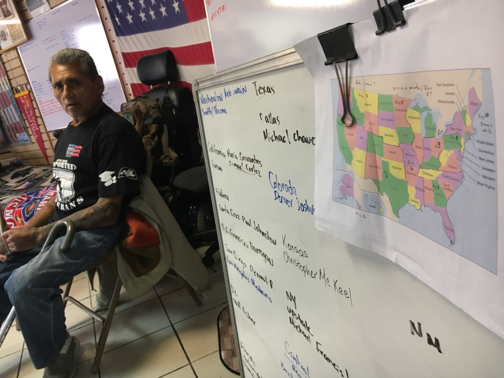 A map of the U.S. is posted at the Deported Veterans House in Tijuana, Mexico. The shelter has become a meeting place for dozens of veterans who served in the U.S. armed forces before getting deported.