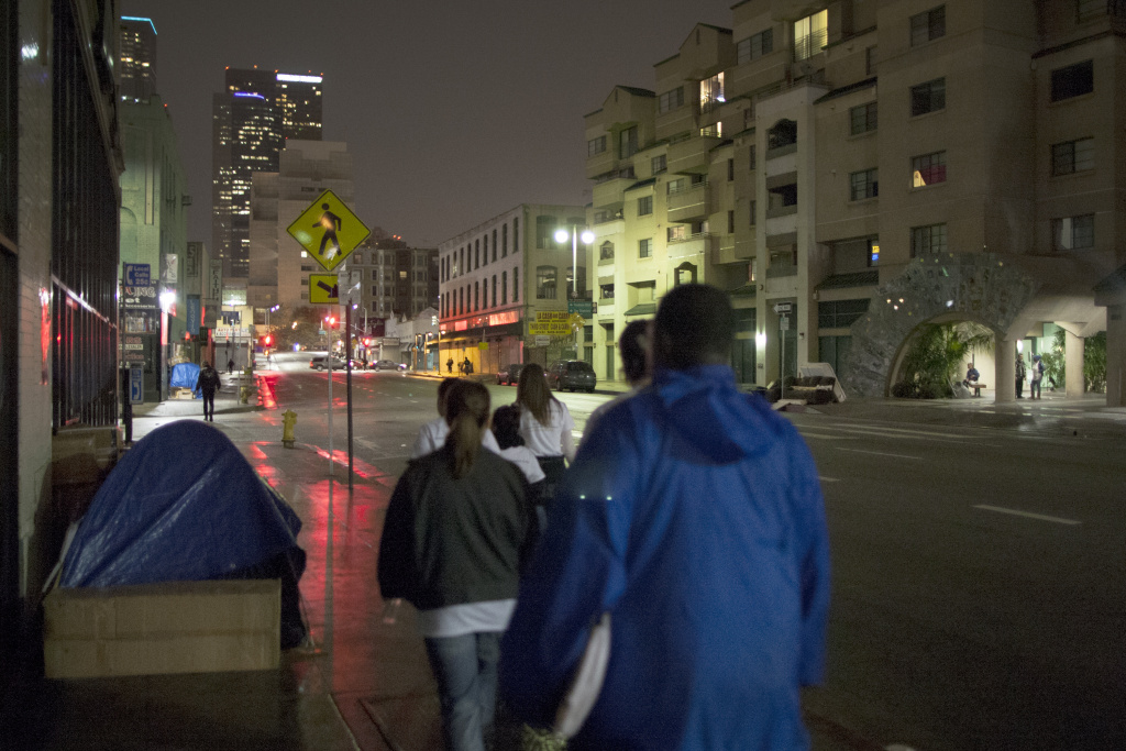 Volunteers head to Skid Row during 2015's homeless count.