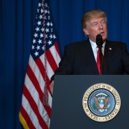 US President Donald Trump delivers a statement on Syria from the Mar-a-Lago estate in West Palm Beach, Florida, on April 6, 2017.