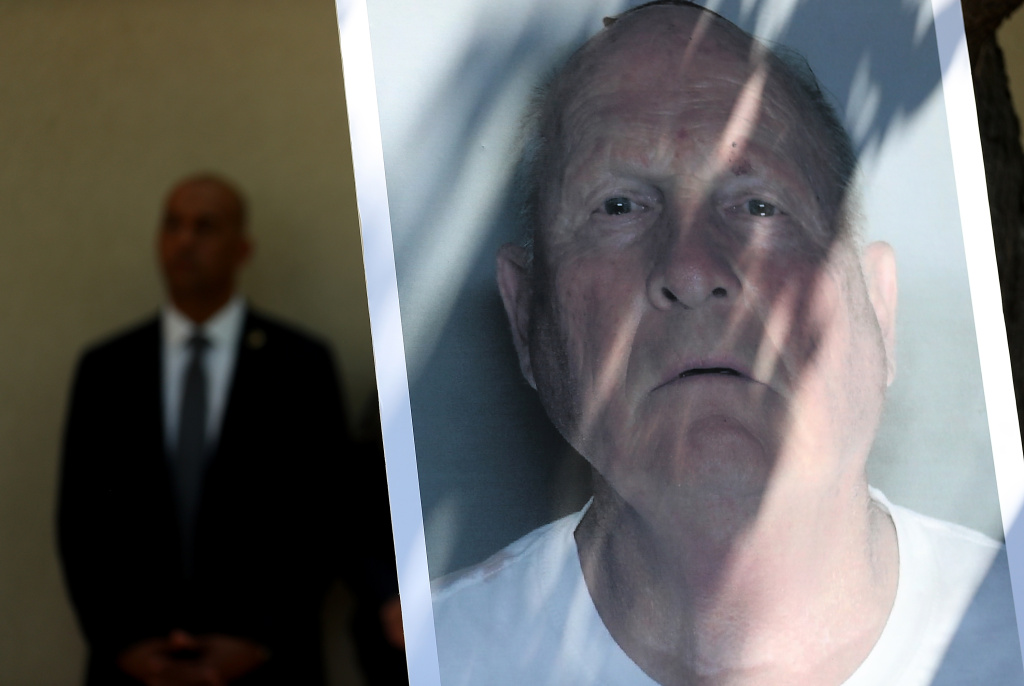 File: A photo of accused rapist and killer Joseph James DeAngelo is displayed during a news conference on April 25, 2018 in Sacramento.