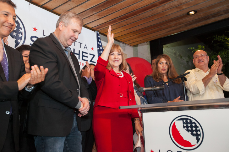Loretta Sanchez makes her victory speech on the night of the California Primary elections in Anaheim, Calif. Tuesday, June 7, 2016.