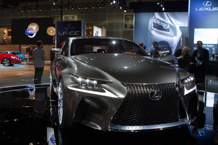 The Lexus LF-CC hybrid concept car on display at the LA Auto Show. Unlike some concept cars, this one isn't so out-there that it won't ever see production, in some form.
