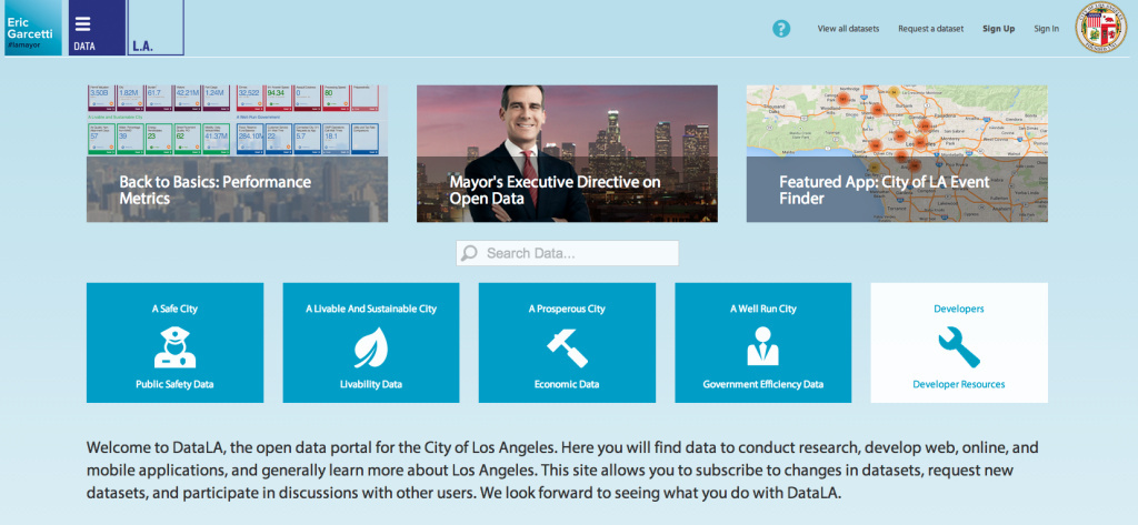 The homepage for Data LA at https://data.lacity.org/