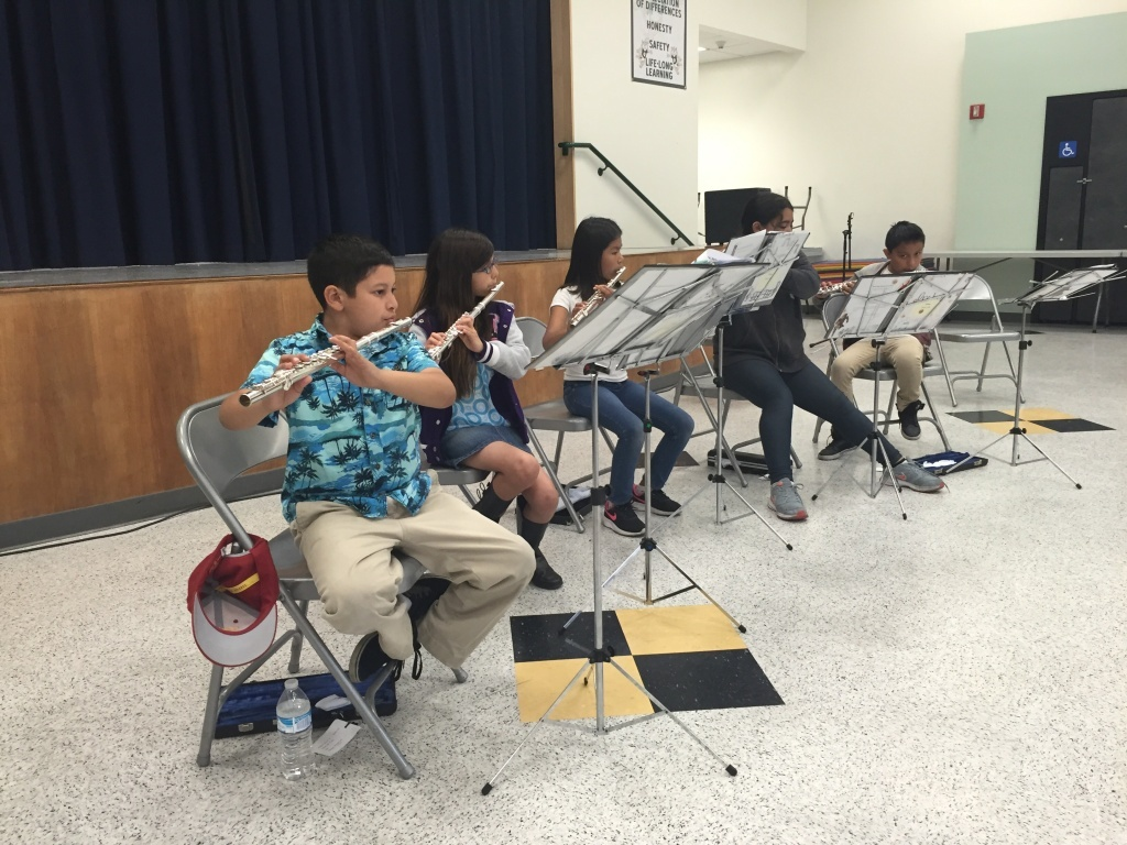 The flutes were donated to the school by community members.