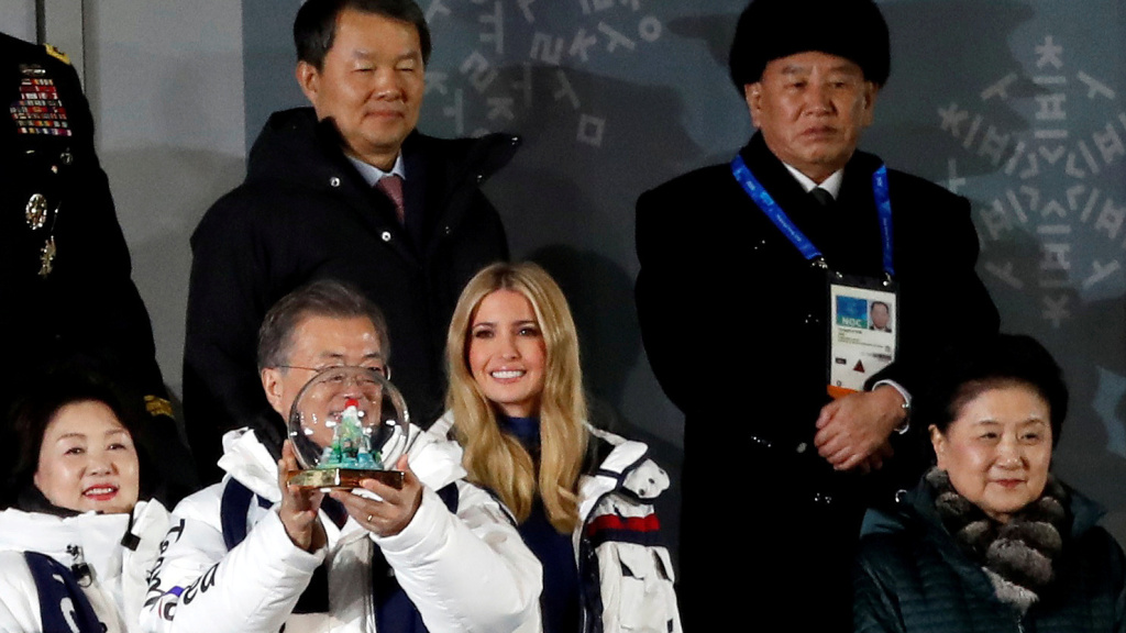 Kim Yong Chol — seen here standing behind South Korean President Moon Jae-in and Ivanka Trump during the closing ceremony of the Pyeongchang 2018 Winter Olympics, is on his way to New York City.