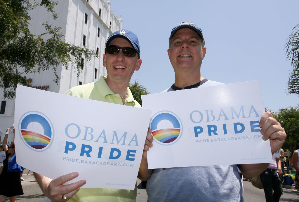 Pro-Obama participants at the Gay Pride Parade on Santa Monica Boulevard in West Hollywood, California.