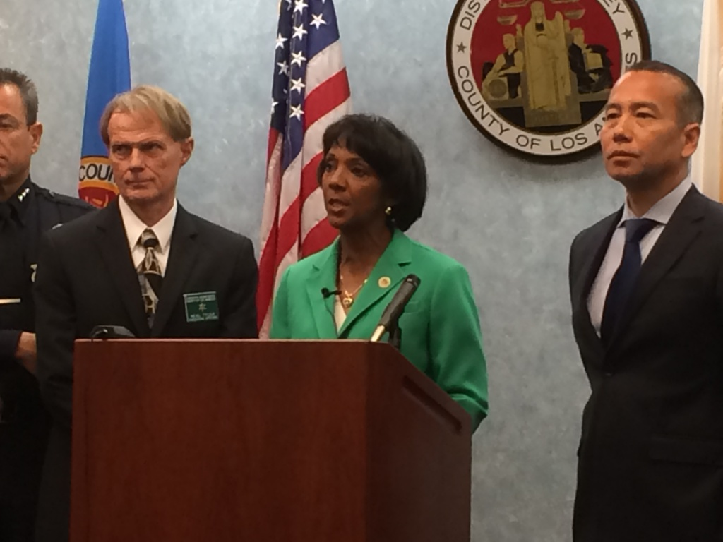 Los Angeles County District Attorney Jackie Lacey announces the rollout of a new program to investigate workplace deaths and environmental crimes.