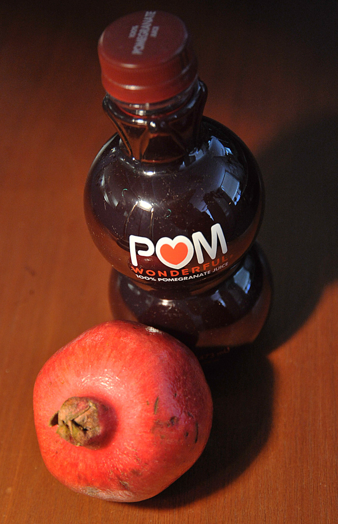 This October 19, 2010 photo illustration shows a bottle of POM Wonderful pomegranate juice.
