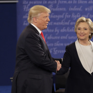 Republican presidential nominee Donald Trump shakes hands with Democratic presidential nominee Hillary Clinton at the end of the second presidential debate at Washington University in St. Louis, on Oct. 9.