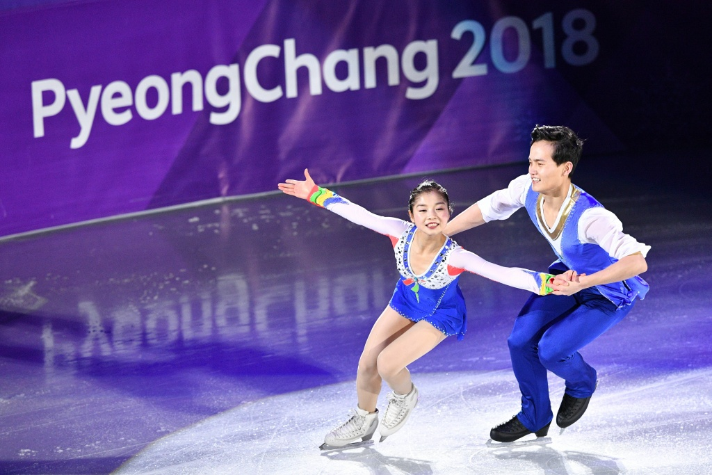 North Korea's Ryom Tae Ok and Kim Ju Sik perform during the figure skating gala event during the Pyeongchang 2018 Winter Olympic Games on February 25, 2018.
