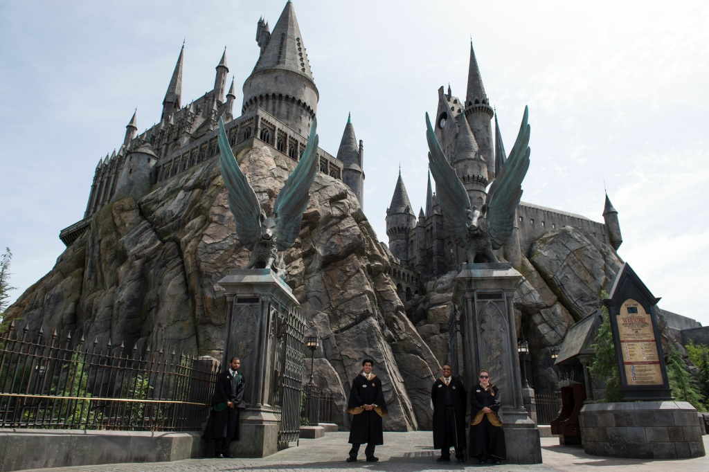 An exterior view of Hogwarts is seen during the 'Wizarding World of Harry Potter Opening' press preview at Universal Studios Hollywood in Studio City, California, on April 6, 2016.