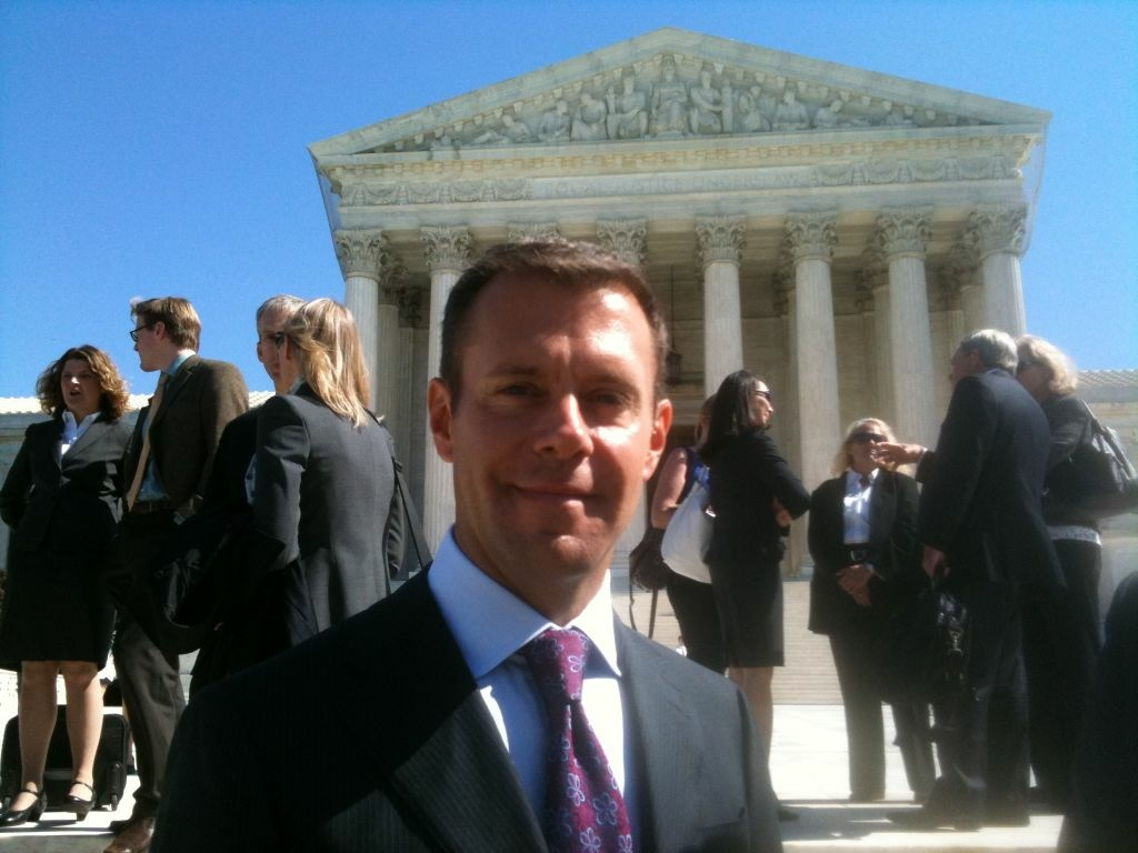 Stanford Law Professor Anthony Falzone on the steps of the US Supreme Court.