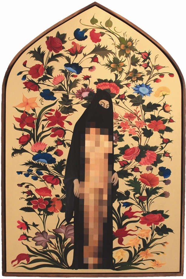 The Censored Garden, 2008; Egg tempera and gold leaf on linen; 44 x 30 in.; Collection of Michael Frank Black, Scottsdale, Arizona.