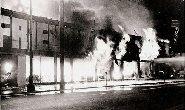 A scene from the riots in Watts, August 1965