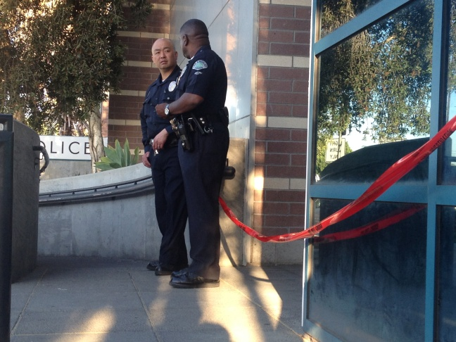 Caution tape marks off the Wilshire station on Tuesday, April 8, 2014.