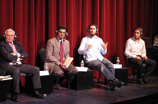 Participating panelists, from left to right, David Lehrer, Salam Al-Marayati, Omar Zarka and Isaac Yerushalmi.