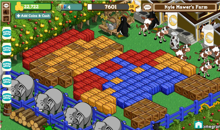 A screenshot from the Farmville video game.