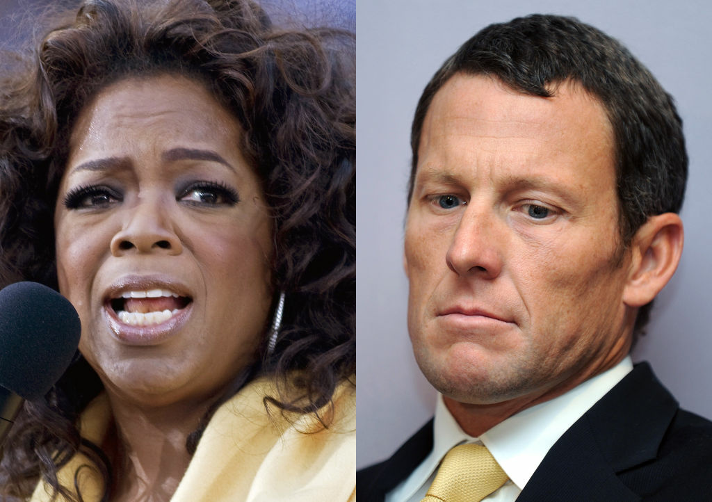 A combo picture made on January 15, 2013 in Paris, shows US talk-show star Oprah Winfrey and US former Cycling champion Lance Armstrong. Lance Armstrong's reported admission to Oprah Winfrey that he used performance-enhancing drugs likely means he will go down in history as the most brazen drug cheat the sport has ever seen. The disgraced American cyclist's comments, reported January 14, 2013 by USA Today, rewrite 14 years of deception and repeated denials that he used banned substances to win scores of international races, including the Tour de France seven times. His years of dominance in the sport's greatest race raised cycling's profile in the United States to new heights and gave Armstrong a platform to promote cancer awareness and research.