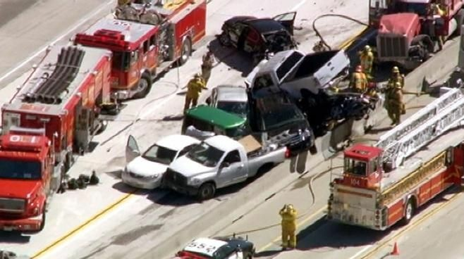 An aerial shot of the pile-up on the 14 freeway.