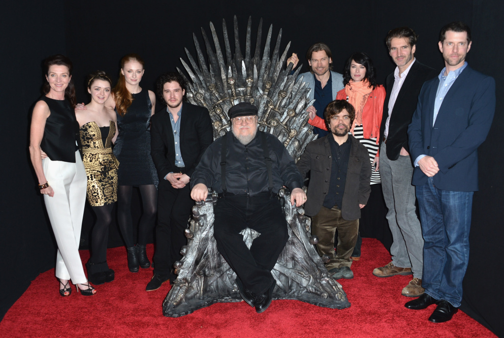 Actors Michelle Fairley, Maisie Williams, Sophie Turner, Kit Harington, executive producer George R.R. Martin, actors Nikolaj Coster-Waldau, Peter Dinklage, Lena Headey, co-creator/executive producer David Banioff and co-creator/executive producer D.B. Weiss attend The Academy of Television Arts & Sciences'  Presents An Evening With