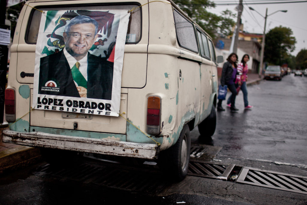 A van in Mexico CIty bore signs of support for Andrés Manuel López Obrador.