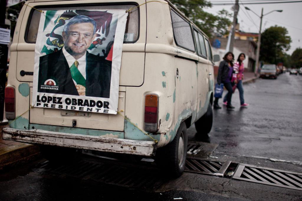 A van in Mexico CIty bore signs of support for Andrés Manuel López Obrador.