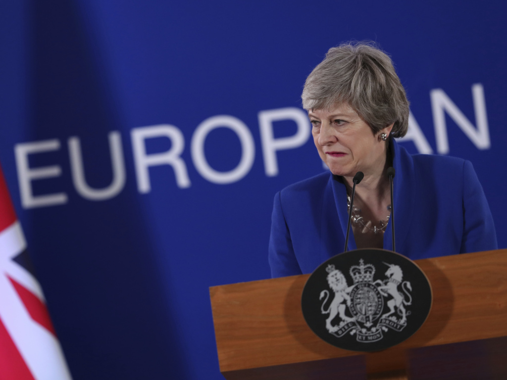 British Prime Minister Theresa May speaks at a news conference at the conclusion of the EU summit in Brussels.