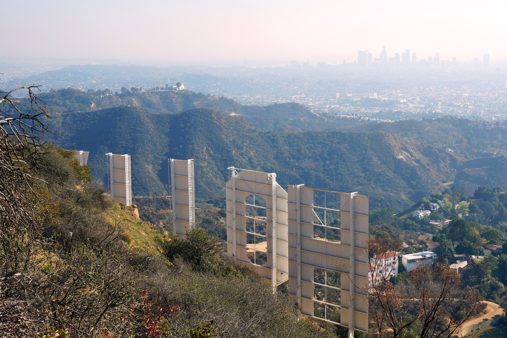 A hazy view from behind the Hollywood sign.