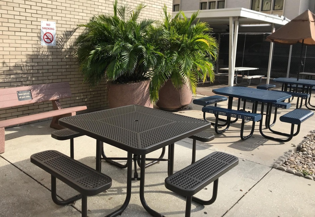 Formerly a designated smoking area, this patio outside the VA hospital in Tampa now is posted with