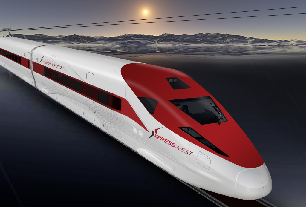 This is an artist's rendering of the Xpress West high-speed train that's been proposed between Victorville and Las Vegas.