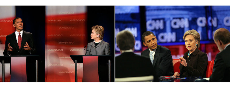 L: Obama answers a question as Clinton watches during the first debate of the 2008 presidential campaign on April 26, 2007 in Orangeburg, S.C. R: Obama and Clinton participate in a debate in Los Angeles on January, 31, 2008.