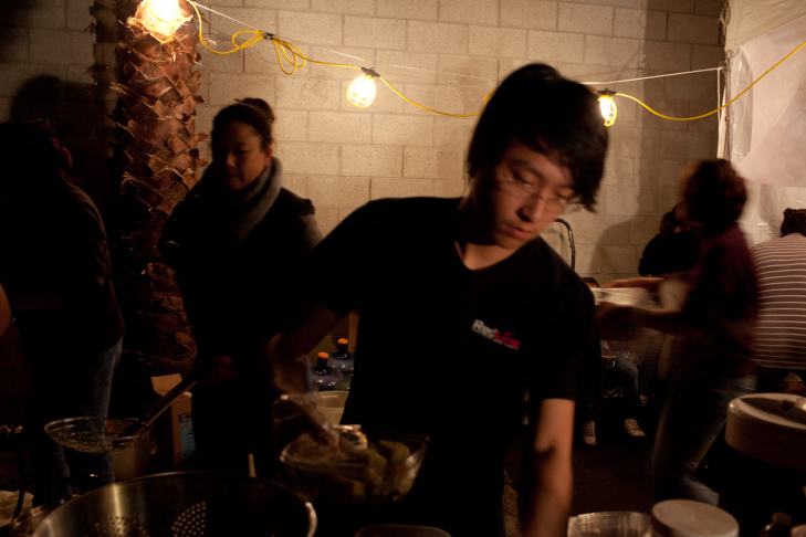 A business owner makes pancakes at the 626 Night Market on April 15th, 2012.