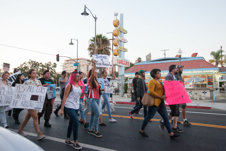 Vigil and protest for Jesse Romero in Boyle Heights, Calif. on Wednesday, Aug. 10, 2016.