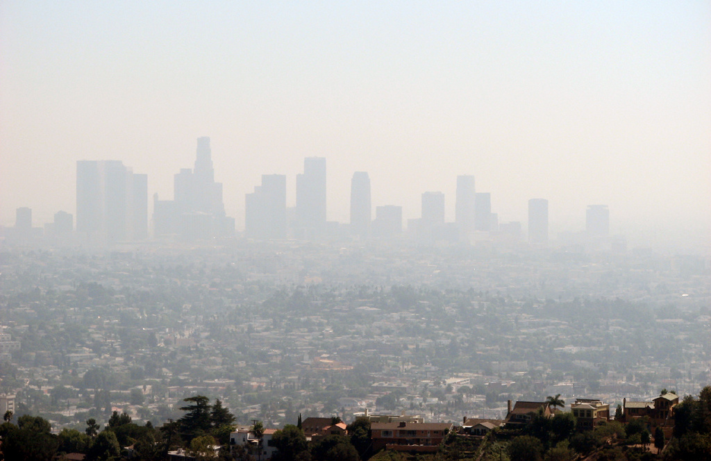 Smog blankets downtown Los Angeles.